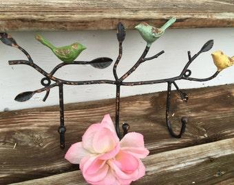 Bird Hook, Bird Decor, Wall Hook, Hanger, Shabby Chic Hanger