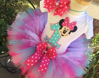 Minnie Mouse Birthday Tutu Outfit Dress Set Handmade 1st 2nd 3rd in Pinks and Aqua