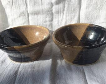 Black and Tan Bowl, Wheel Thrown, Handmade, Hers and His, Hers and Hers, His and His, Hostess/Housewarming Gift