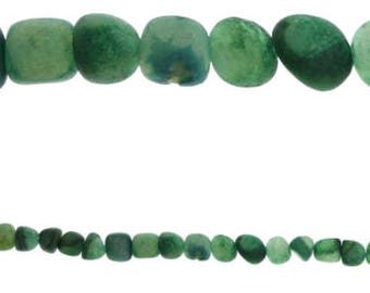 673 - Semi-Precious Agate, 10mm, Chips, (dyed) Green - Package of 34