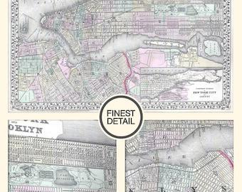 New York map - New York city map - New York and Brooklyn - NYC map - Archival quality Fine Art Print - 82