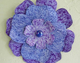 Metal Flower Wall Art Sculpture Recycled Metal Bathroom Kitchen Wall Decor Purple Blue Lavender 8 inches