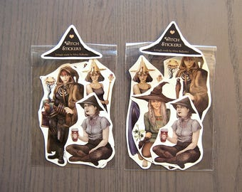 Witch Stickers! Set of 4 halloween stickers. | Scrapbook, kawaii stickers, cute stickers, fantasy illustration.