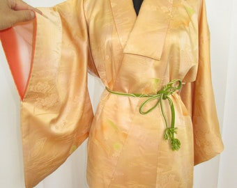 Vintage Kimono dress Apricot color with flowing water,flowers and fans pattern