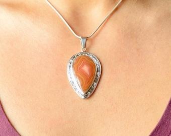 Orange Crazy Lace Agate Pendant // Agate Jewelry // Sterling Silver // Village Silversmith
