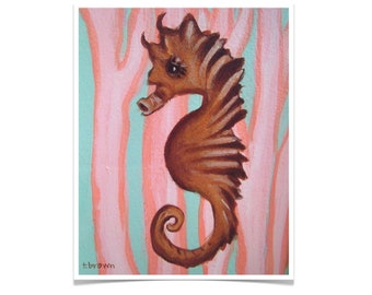 seahorse. fine art print. under the sea. ocean. underwater. sea animals. marine life. fish. tropical. wall art. original art. traciebrownart