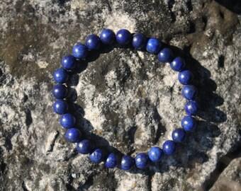 Lapis Lazuli Gemstone Bracelet -  Blue Beaded Bracelet, Gemstone Bracelet, Stretch Bracelet, Royal Blue Bracelet