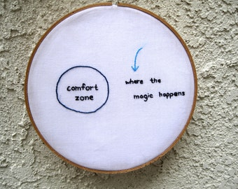The MAGIC happens outside of your comfort zone - Inspirational Quote - Embroidery Hoop Wall Art