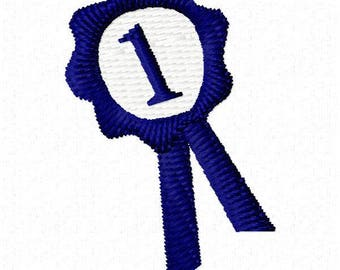 First Place Ribbon Embroidery Design - Instant Download