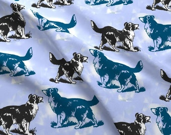 Blue Border Collie Fabric - Border Collies On Blue By Dogdaze - Blue Border Collie Cotton Fabric By The Yard With Spoonflower