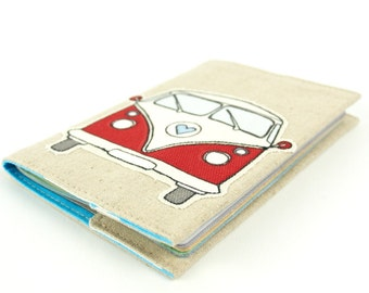 Linen Passport Cover Going Places Red Retro Bus Kid's Passport Cover