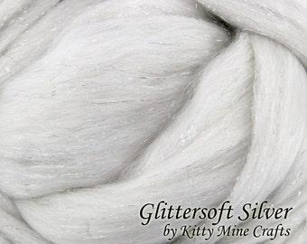 Undyed Glittersoft Silver Roving - Ecru, 8 oz - Superfine Merino, Stellina - Sparkle Roving - Spinning - Felting - Combed Wool Top