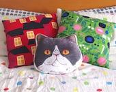 Panko the cat illustrated large cushion