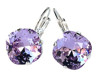 Violet Square Stone Cushion Cut Earrings with Crystal from Swarovski