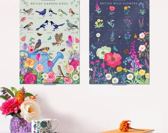 2x British Nature Posters - Nature Prints - Wildlife Art - Nature Guides - Wildlife Prints - Wall Art  - For Her