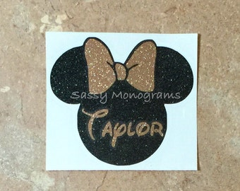 Glitter Mickey or Minnie Mouse Personalized Vinyl Decal