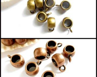 10 Antique Bronze Or Antique Copper Round Slider Bails - 16-BB-9