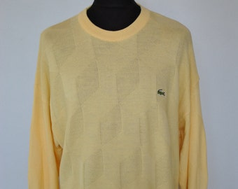 Vintage LACOSTE CHEMISE yellow men's sweater , Made in France Lacoste sweater......(014)