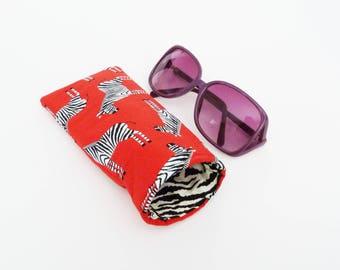 Glasses case, zebra fabric, red cotton zebra design, cotton case