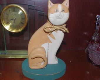 Vintage Wooden Cat Figurine of Cute Orange Tabby 1993
