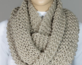 Hand Knitted Camel Cozy Infinity Scarf Christmas Gift For Her For Him Neck Warmer - ESCHERPE