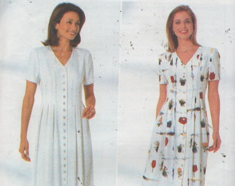Misses Button Front Loose fitting Long Dress Sewing Pattern Butterick 4913  Size 12 14 16, Bust 34 36 38   Uncut