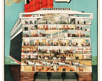 Vintage Cunard Line Cruise Shipping Poster Print