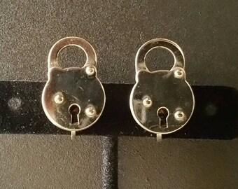 Vintage Padlock Earrings, Metal Earrings, Metal Padlock, Screw On Earrings, Silver Tone (E-ER-164)