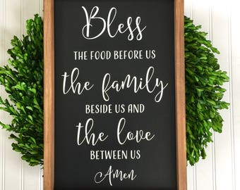 Bless the Food - Meal Prayer - Dining Room Decor - Farmhouse Decor - Rustic Kitchen Sign - Children's Prayer - Kitchen Decor - Prayer Sign