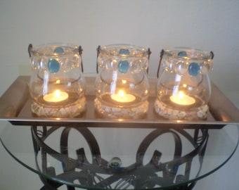 Turquoise Votive Lantern Set of Three