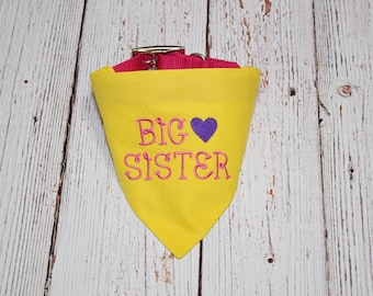 Pregnancy Announcement - Baby Announcement - Pregnancy Reveal - Custom Dog Bandana - Baby Reveal - Big Sister Dog Bandana - Future Sister