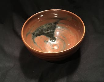 Ceramic bowl, handmade pottery stoneware brown black ovenproof