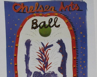 """1990s Chelsea Arts Ball Print -AIDS Fundraiser Poster- Blue White Red EXUBERANT ARCH - Royal Albert Hall London - Hockney - 14 1/8 x 10 1/4"""""""