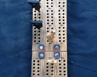 Foldable driftwood cribbage board oak with yellow cedar and ebony pegs