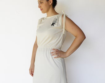 Vintage 60s Cocktail Dress / Shooting Star Cream Evening Dress / Size M