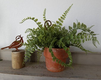 Vintage Clay Pot Home w/ faux fern with fronds Farmhouse