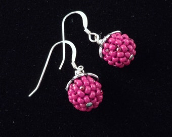 Silver, Seed Bead, Red, Beaded Earrings, Glass Beads, Beaded Bead, Dangle, Drop, Ladies Earrings, Berry, Casual, 10M Beads