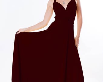 Bridesmaids dress in burgundy color floor length dress with matching tube top