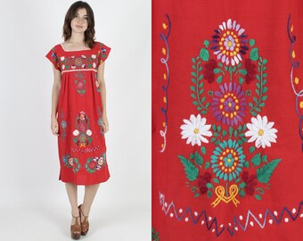 Red Mexican Dress Ethnic Dress Boho Dress Fiesta Dress Vintage 70s Bright Floral Embroidered Cotton Womens Tank Summer Midi Mini Dress M