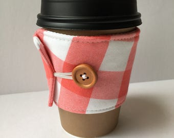 Coral Gingham Check Coffee Cozy - One Inch Gingham Check Coffee Cup Sleeve - Reusable Coffee Sleeve