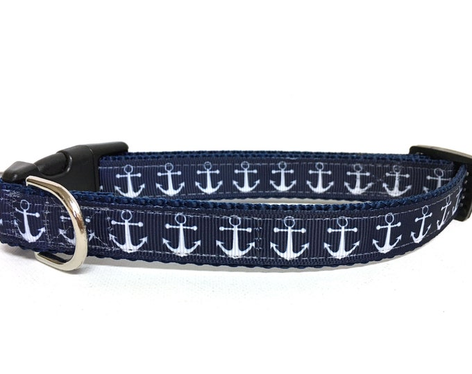 Featured listing image: Naked Dog Collar- The Navy Anchors- Adjustable Collar