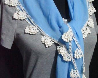 Turkish oya scarf, blue cotton scarf with crocheted edging, Turkish blue  oya scarf, blue cotton square scarf, crocheted grape trim