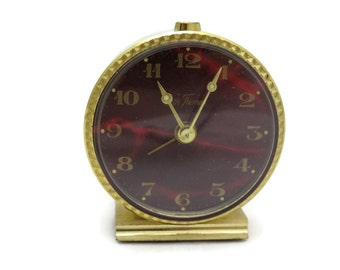 Seth Thomas Clock - Travel Alarm Clock with Case, Red Face, 1960s, Glow in the Dark Hands, Works