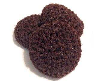 Dark Brown Crocheted Nylon Netting Dish Scrubbies-Trio