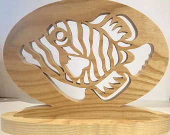 Marine fish plaque, wooden fish ornaments. Handmade wooden ornaments. Aquarium fish, reef fish.