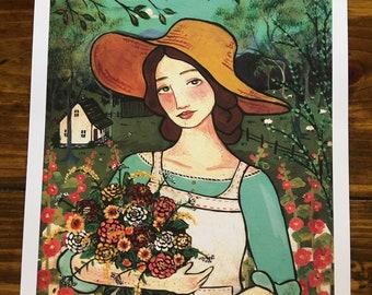 PRINT 11x14 In the Dye Garden folk art