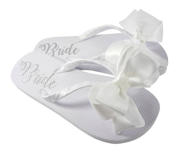 of on Lettering Satin white Flip flip Bride Flops with Bow flat the Shimmer sole flops 00vFRqw