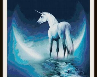 Unicorn Cross Stitch Pattern - Unicorn - Fantasy -  Moon - PDF Download