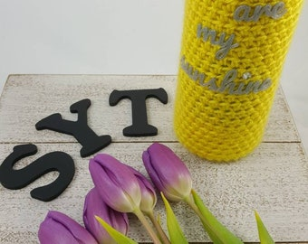 Wine Bottle Cozy for Mother's Day - Hand Crocheted wine bottle cover with unique 3D printed lettering and Swarovski crystal.