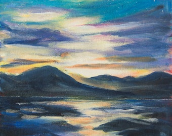 Alaska landscape Original acrylic painting on canvas Alaska painting Sunset at Eagle beach Juneau Mountains painting Alaska art